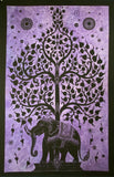 ELEPHANT BODHI TREE TAPESTRY POSTER SIZE BLACK- PURPLE BACKGROUND