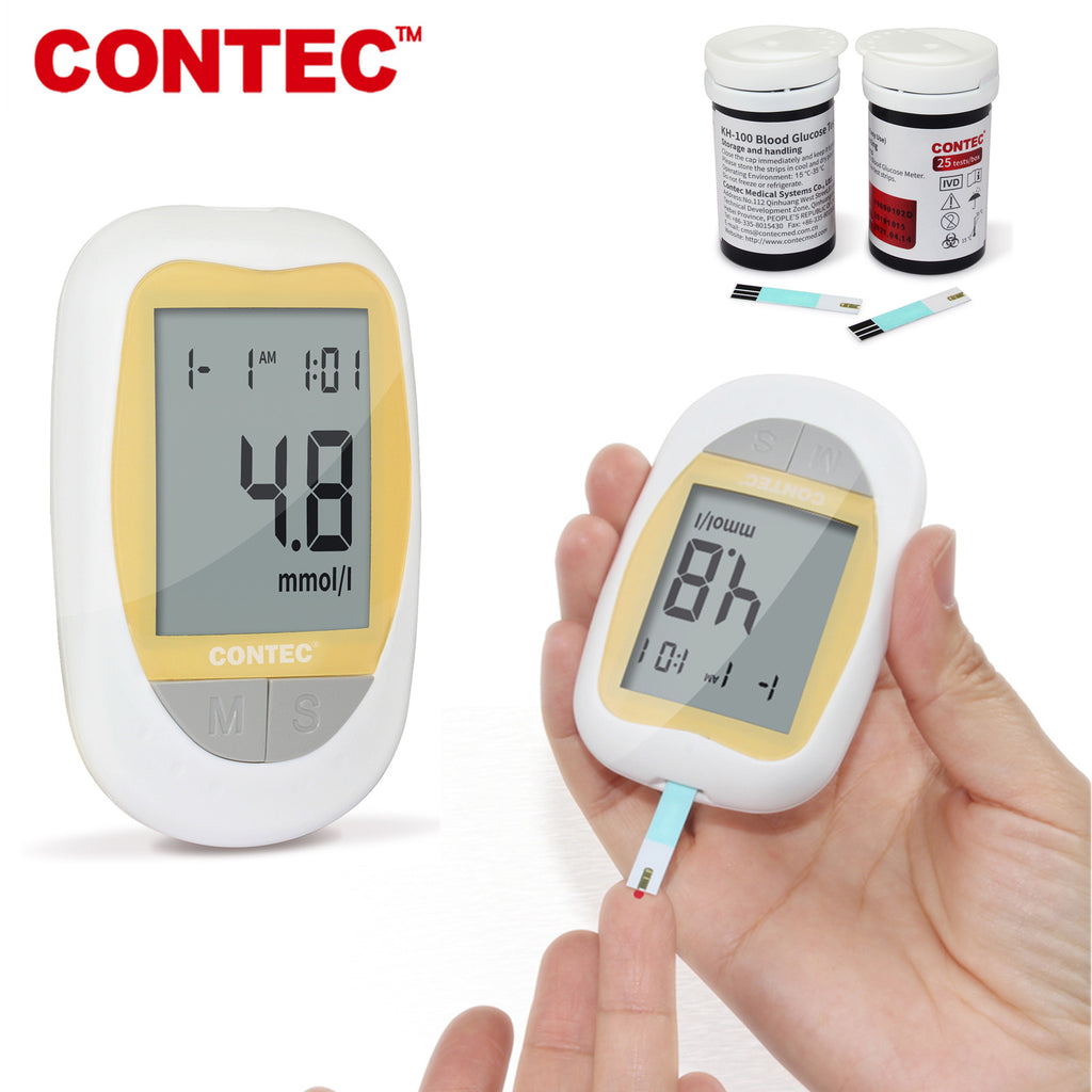CONTEC KH-100 Blood Glucose Meter Diabetic Suger Test Monitor, 50pcs Strips
