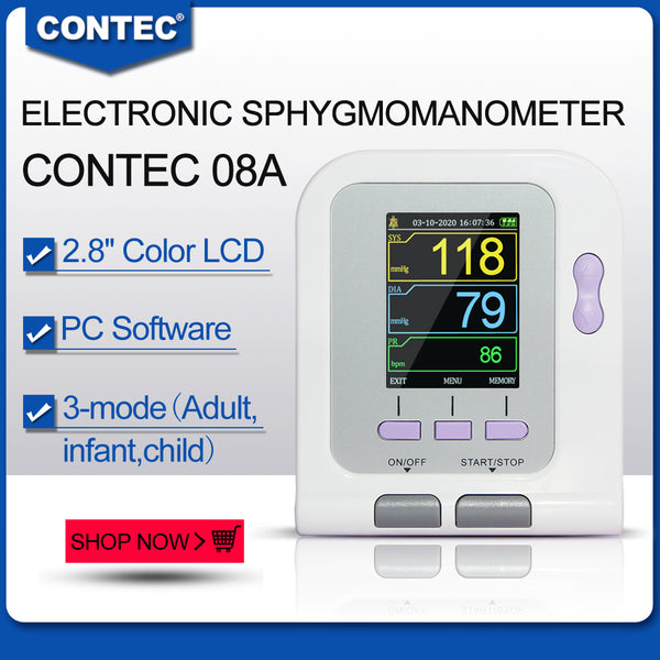 CONTEC Digital Blood Pressure Monitor CONTEC08A+Neonatal/Pediatrics/Child/Adult  4cuffs
