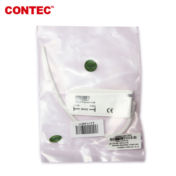CONTEC Upper Arm Neonate/Pediatric BP Cuff Disposable  4.2-7.1CM (Veterinary Dog/Cat Cuff) - contechealth