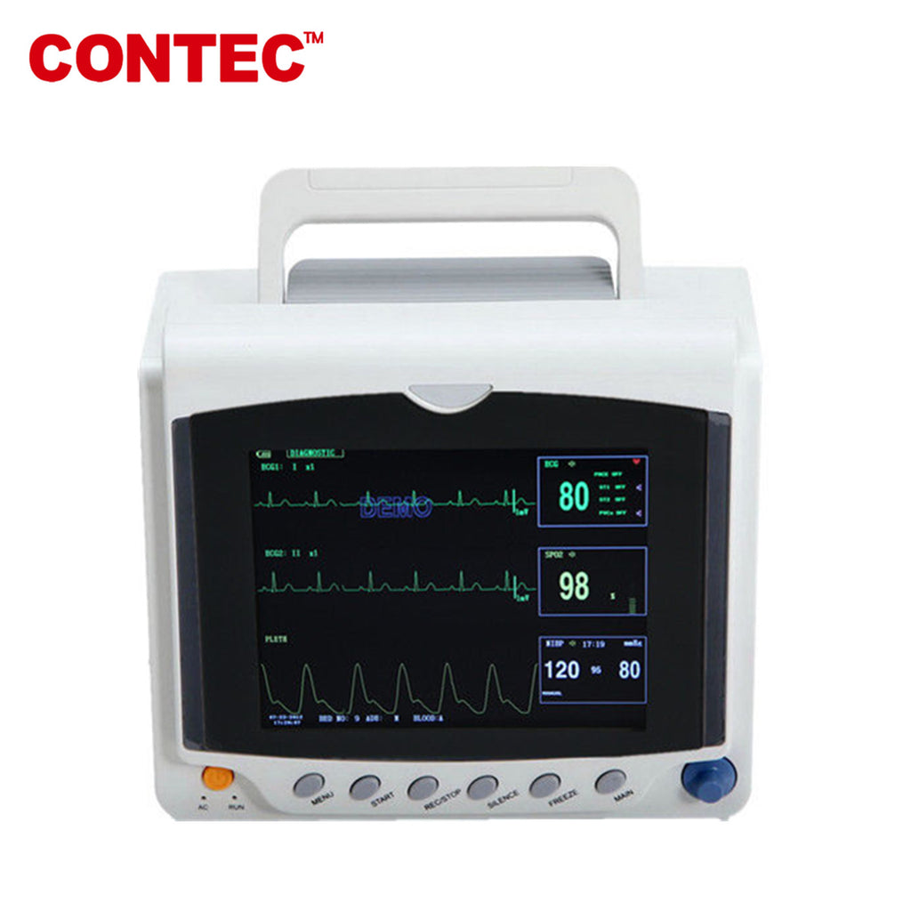 CMS6000C Portable Patient Monitor Vital Signs 6 parameters NIBP SPO2 Pulse Rate ECG TEMP RESP - contechealth