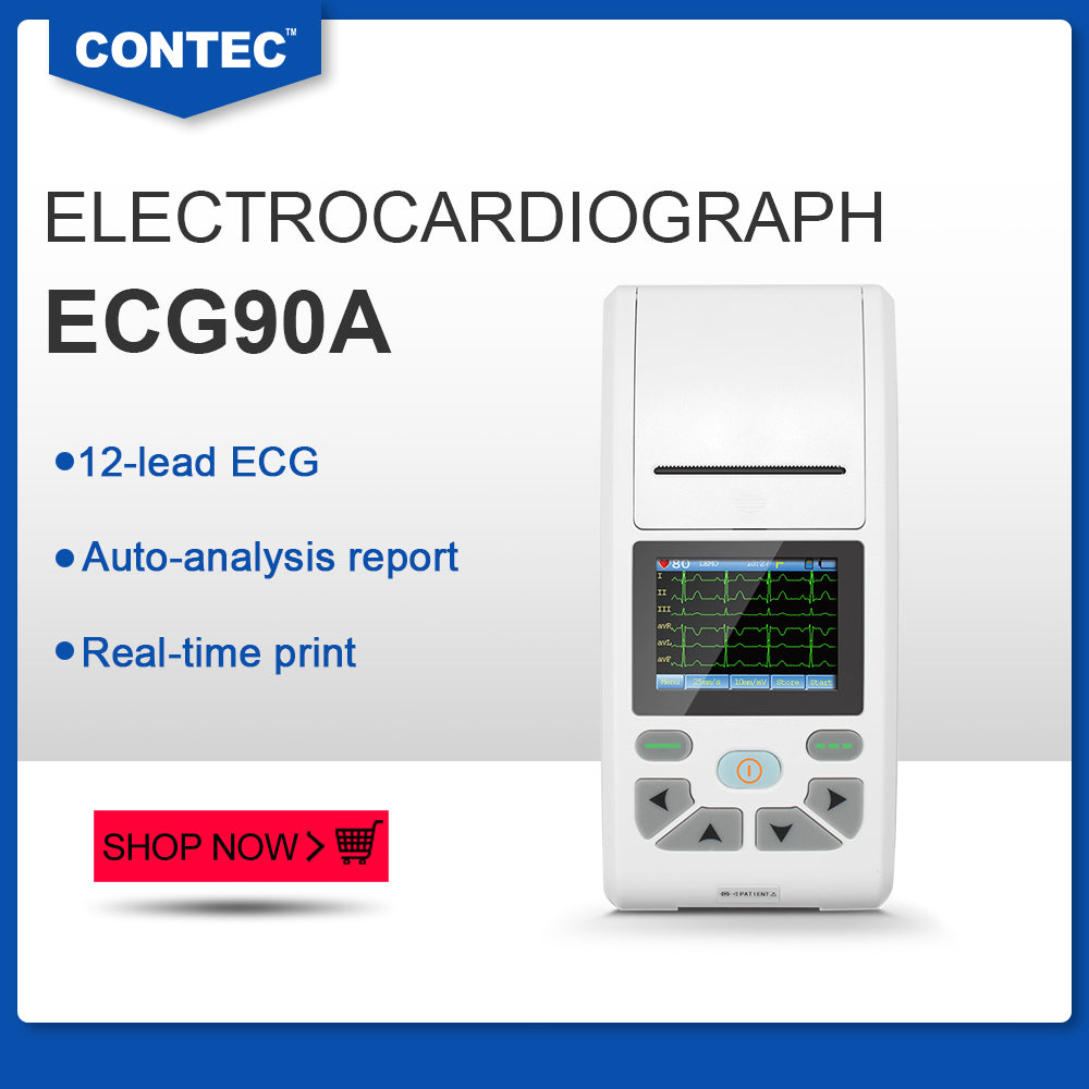 ECG90A Touch 12-lead ECG&EKG Machine Electrocardiograph Sync PC Software