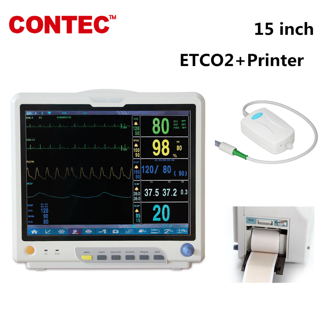 CONTEC CO2 Patient Monitor Vital Signs Monitor 7 Parameters CMS9200 With ETCO2+Printer - CONTEC