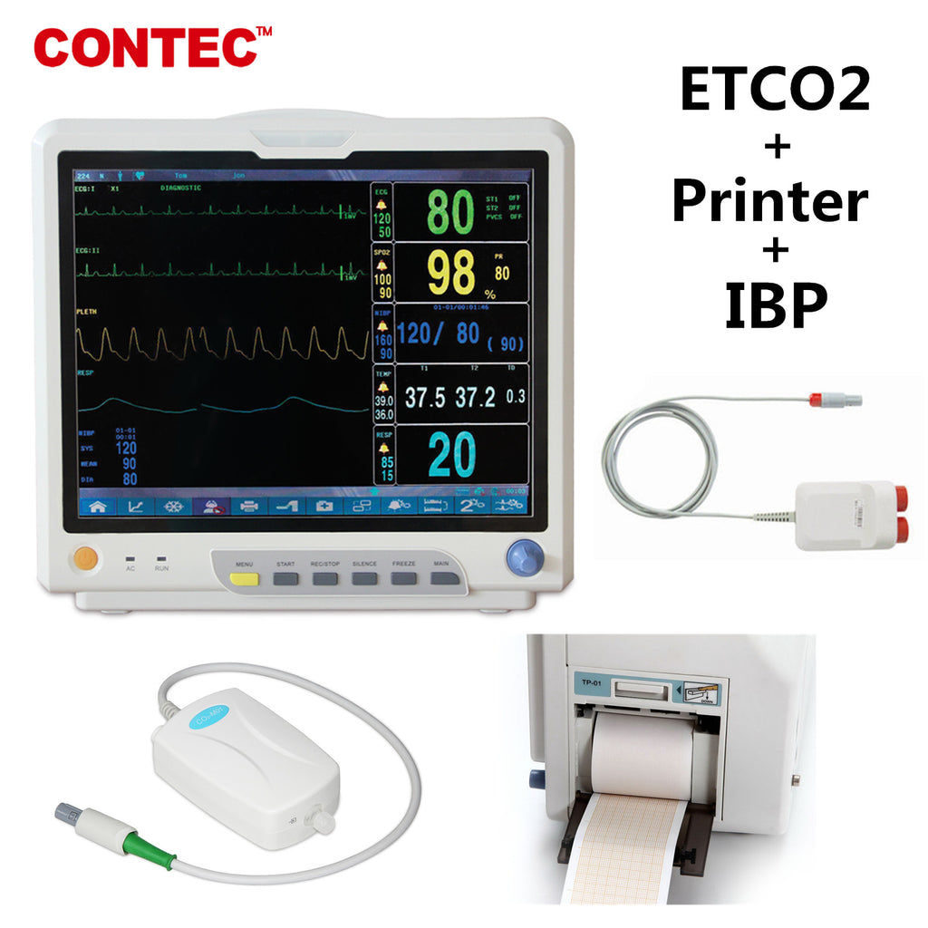 CO2 Patient Monitor Vital Signs Monitor 7 Parameters CMS9200plus +IBP+ETCO2+Printer CONTEC