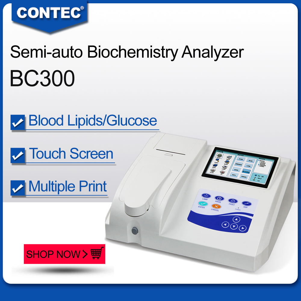 CE CONTEC BC300 Semi-automatic Blood Biochemistry Analyzer Touch Screen, Printer
