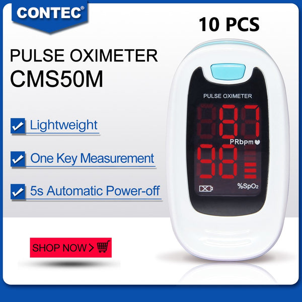 10pcs CMS50M blue Fingertip Pulse oximeter Spo2 Monitor Blood Oxygen LED