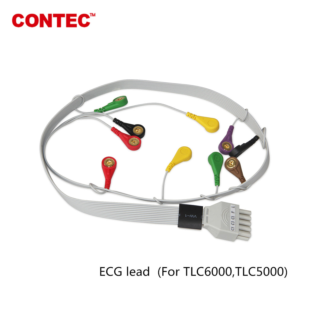 10 Lead ECG/EKG Machine leadwire,Snap,Holter Recorder TLC6000\TLC5000 Monitor - CONTEC