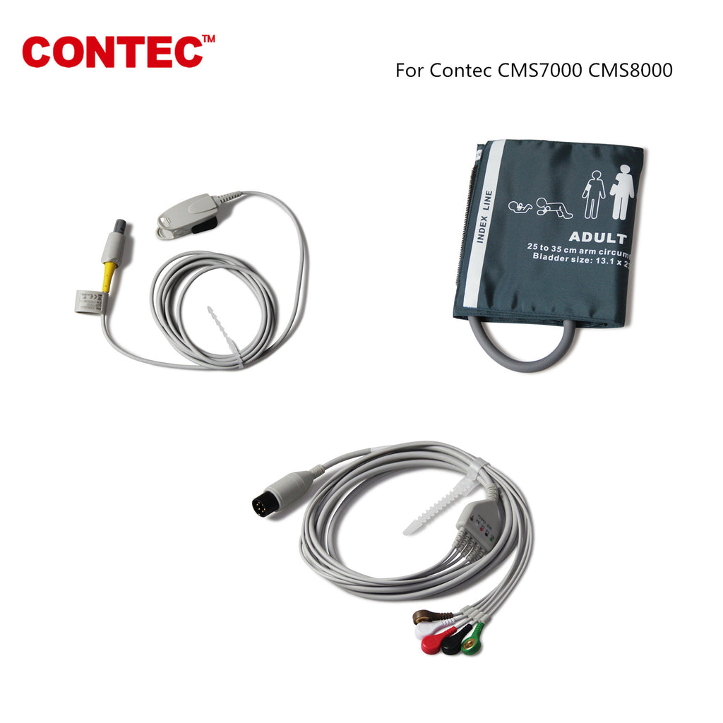 Pulse Oximeter, ECG, and Blood Pressure Cuff  for Contec CMS 7000 CMS8000 - contechealth