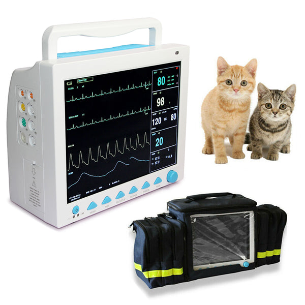 CMS8000VET Veterinary Patient Monitor Vital Signs 6 parameter +Free bag