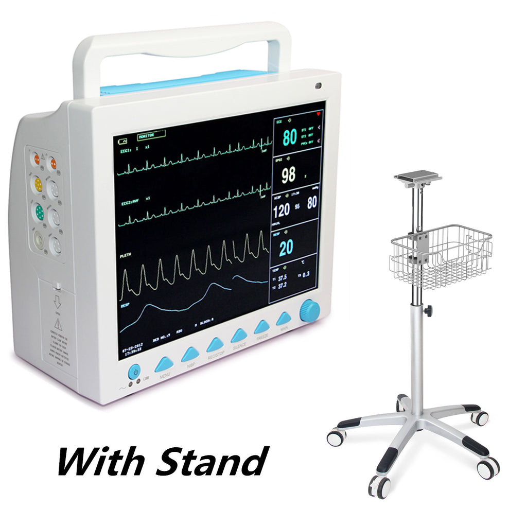 US warehouse CMS8000 ICU Patient Monitor 6 parameters +Rolling Stand Trolley Cart