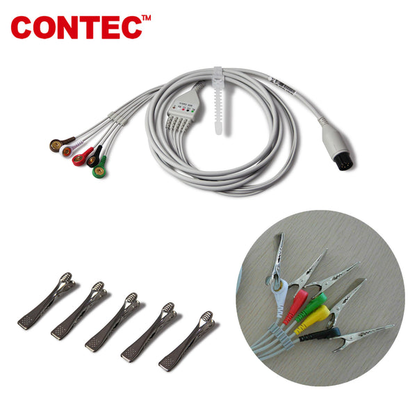 6 PIN 5 lead Veterinary ECG CABLE with Clip for CONTEC patient Monitor CMS8000VET - CONTEC