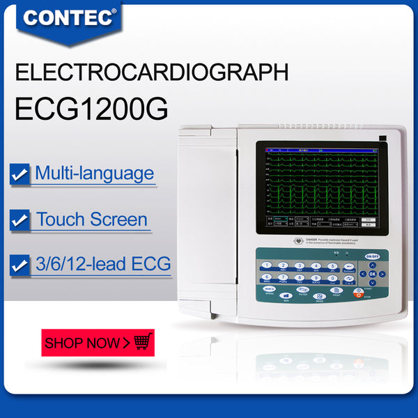 ECG1200G Digital 12 channel/lead EKG+PC Sync software, Electrocardiograph Touch Screen - CONTEC