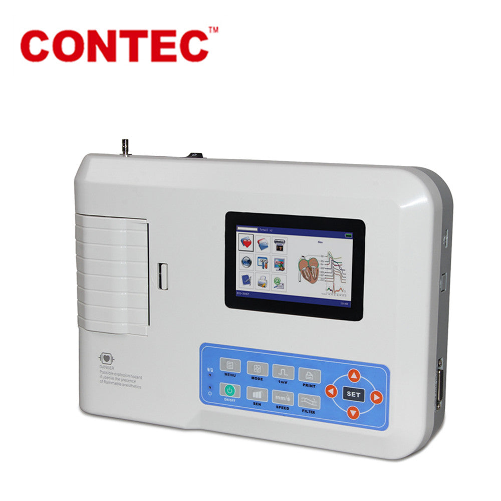 Touch Screen Portable ECG/EKG machine 12-Leads 3 Channel+Printer ECG300GT - contechealth