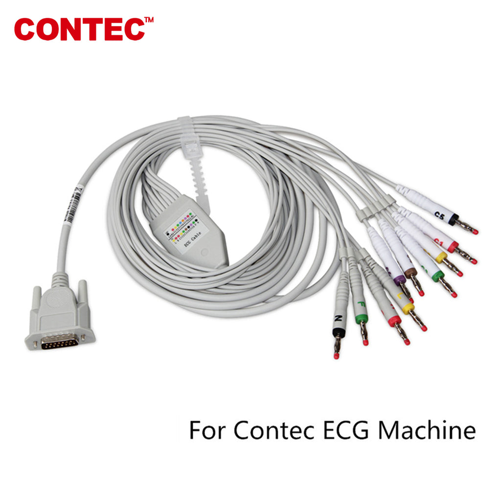 A type 12-Lead ECG cable For CONTEC ECG Machine electrocardiograph, Banana plug - contechealth