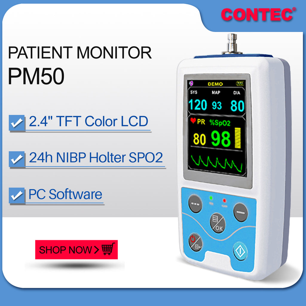 CONTEC PM50 NIBP Patient Monitor BP SPO2 PR dynamic blood pressure alarm PC software