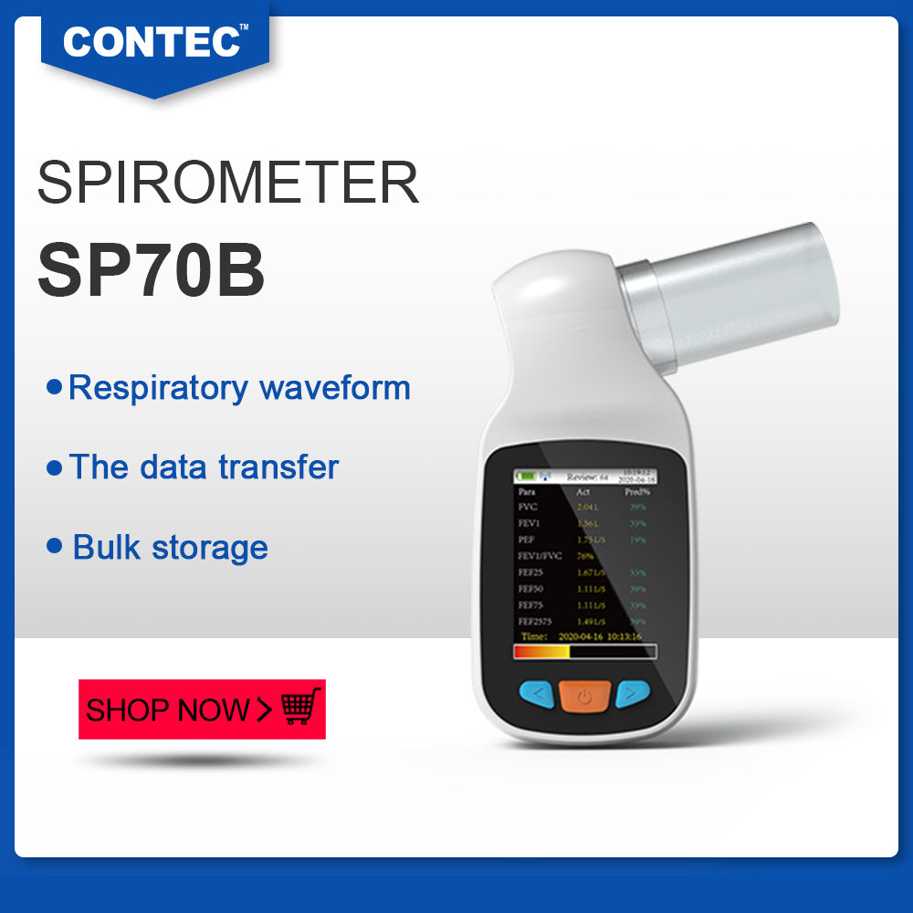 Shipping from China  CONTEC SP70B Handheld Digital Spirometer Pulmonary Function Spirometry,Bluetooth,New