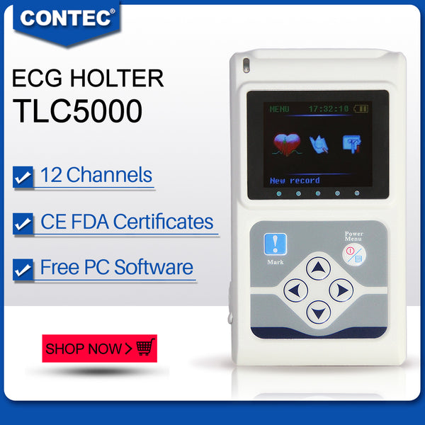 CONTEC TLC5000 ECG Holter 12 Channel 24h EKG Monitor PC Software Analyzer FDA&CE - CONTEC
