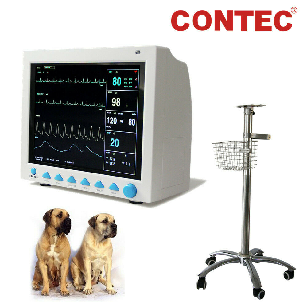 CONTEC Vital Signs Veterinary Patient Monitor 6 Parameter Vet ICU Machine+Stand,CMS8000VET