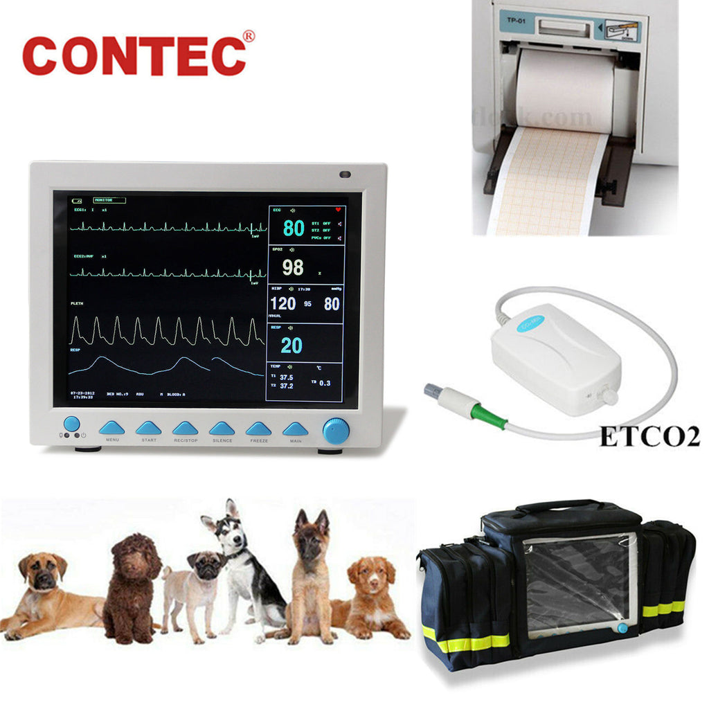 CONTEC CMS8000 VET ICU Veterinary Patient Monitor Vital Signs Animal CO2 capnograph,Printer,Bag