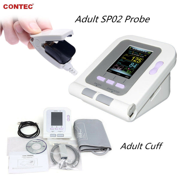 FDA CE Contec08A Digital Blood Pressure Monitor Upper Arm NIBP spo2+Software+Adult probe CONTEC - contechealth