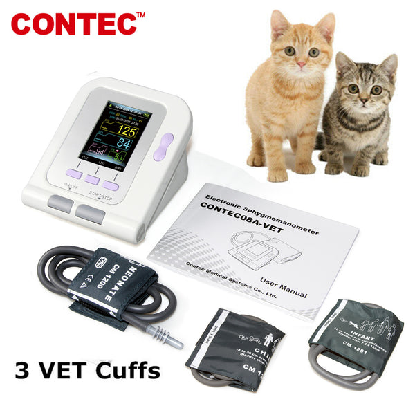 Veterinary 3 free cuffs Digital Blood Pressure Monitor Color LCD Display NIBP CONTEC08A
