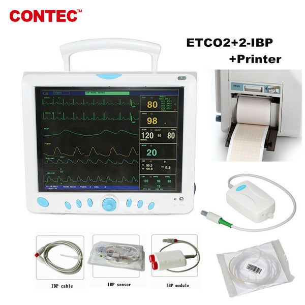 CONTEC CMS9000 Capnograph CO2 monitor Vital Signs ICU/CCU Patient Monitor 2-IBP+Printer - contechealth
