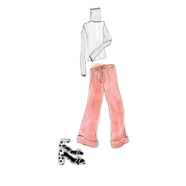 Sketch of a white turtle neck, pink pants, and heels
