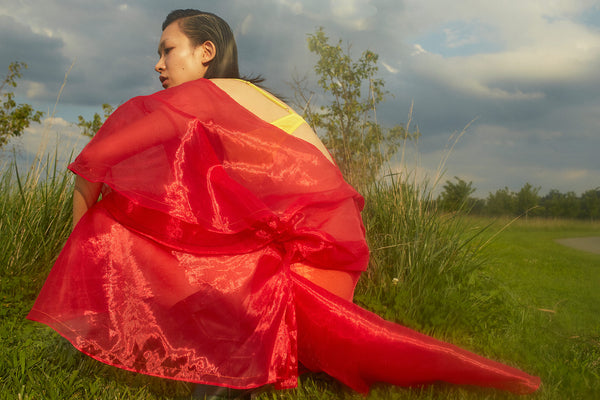 woman crouching in field wearing red dress and yellow bra