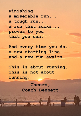 Poem by Coach Bennett text with a sunset background