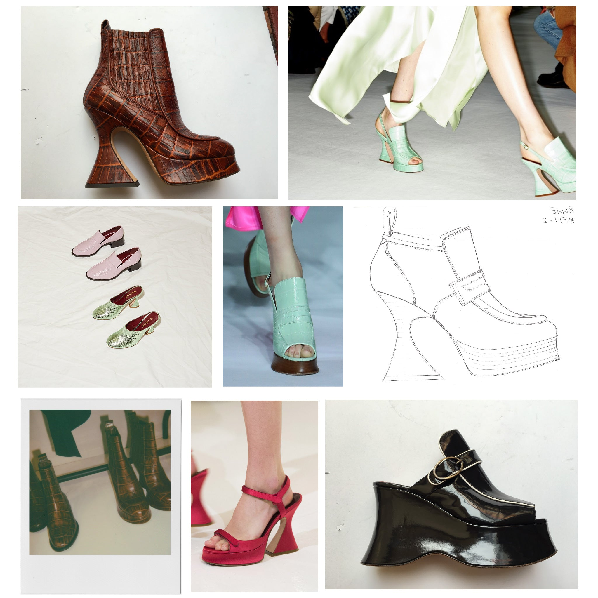 Images of pink, green and brown shoes with sketches next to them.