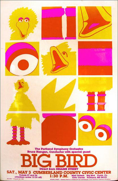 Yellow, pink, and red pop art poster of Big Bird.