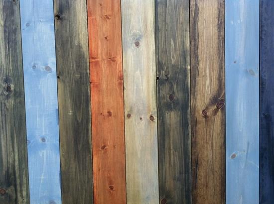 Brown, blue, orange and yellow wood panels