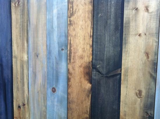 Blue, yellow and brown wooden panels