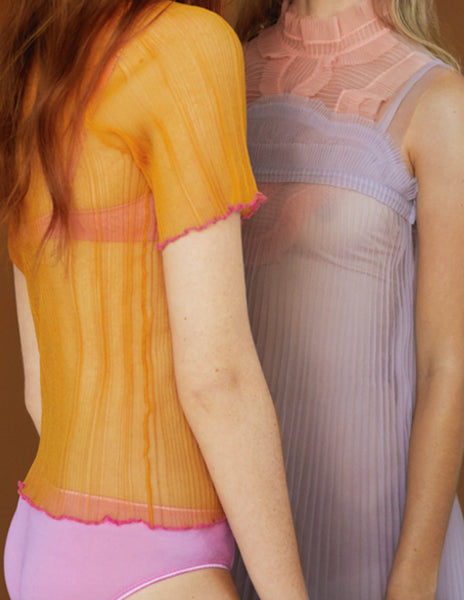 2 women facing each other. One in a yellow top and pink panty, one in a purple slip
