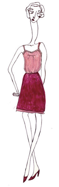 Sketch of a woman in pink clothing