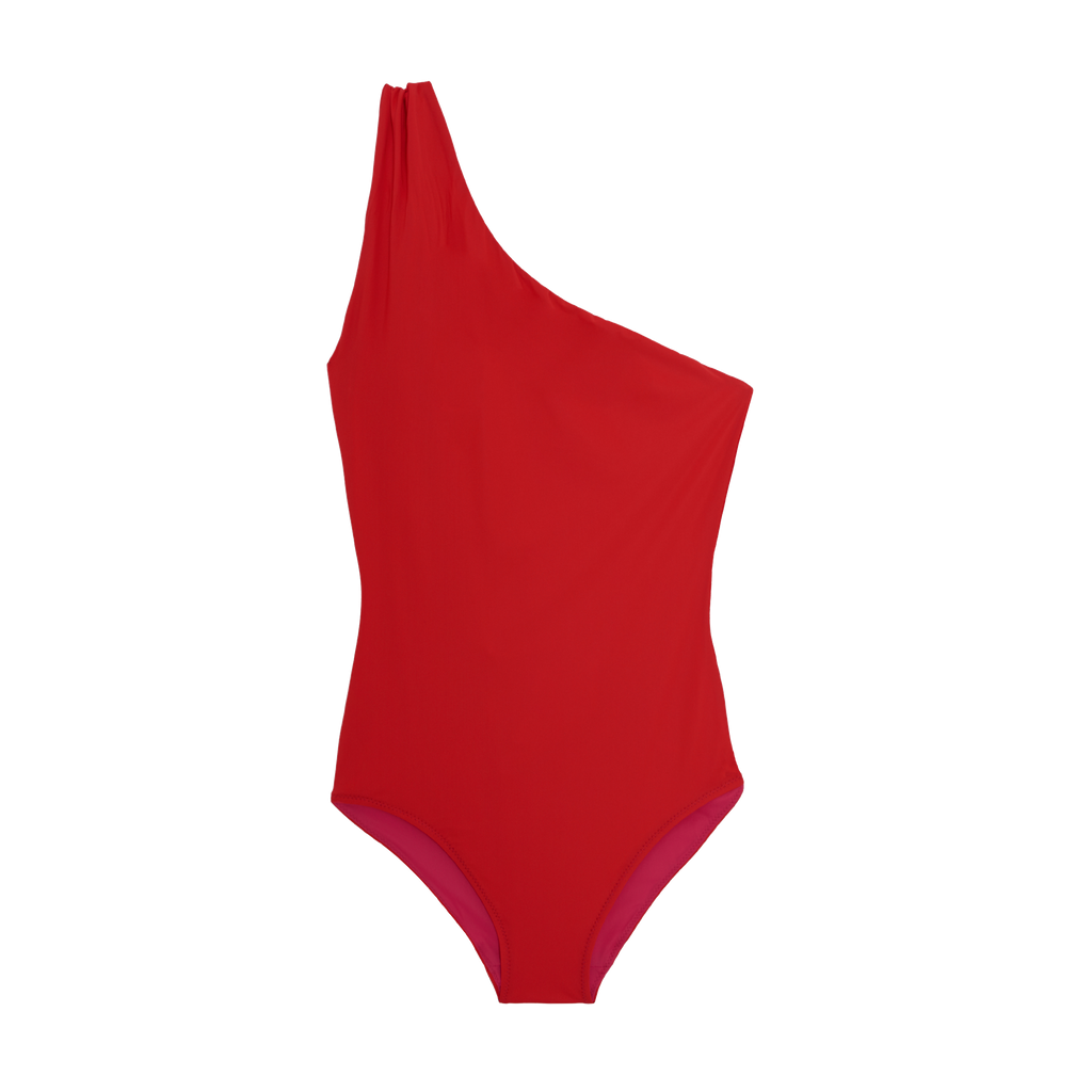 Front shot of red one piece swimsuit