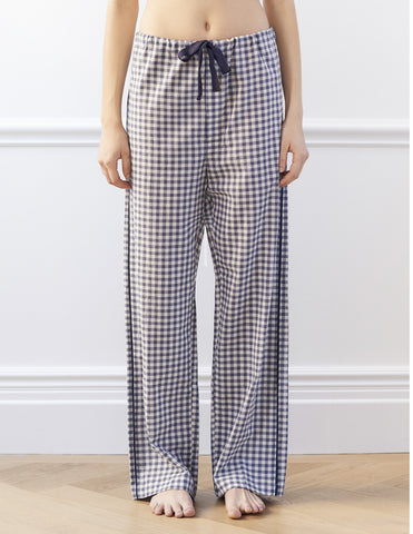 Ally Pajama Pant Sea Gingham Organic Cotton