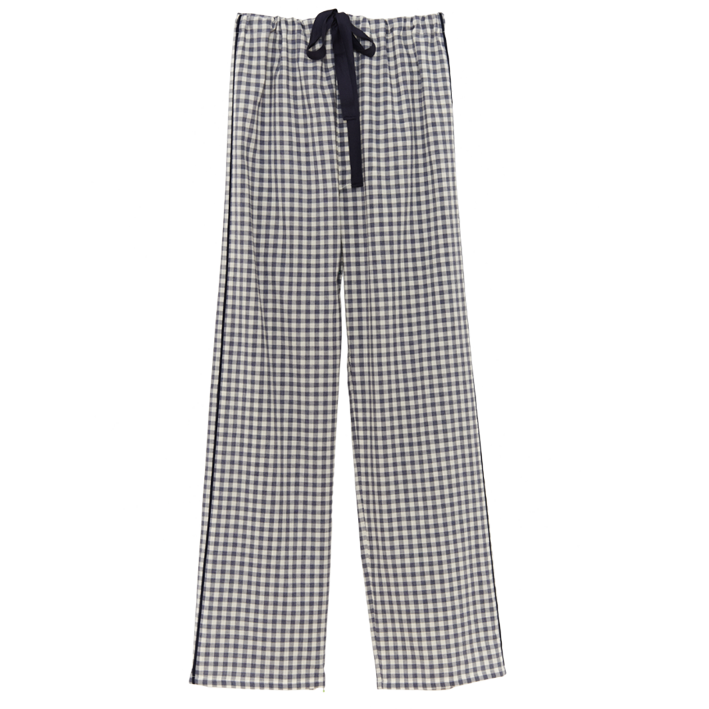 Blue and white gingham silk pajama pants with a cotton twill tape drawstring.