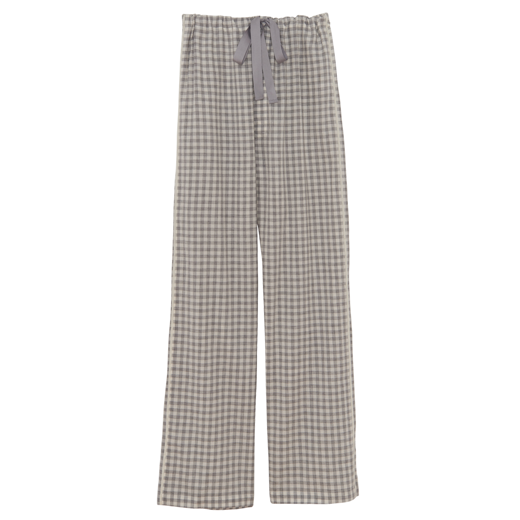 Green gingham silk pajama pants with a cotton twill tape drawstring.