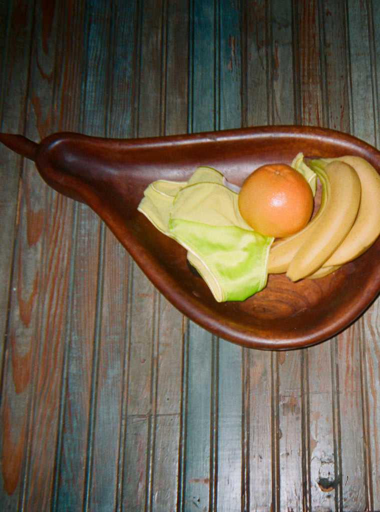 Fruit bowl, light green panty with contrast panel