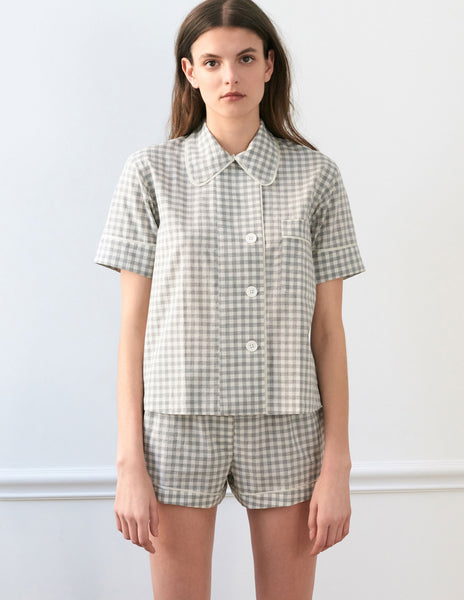 Shelby Pajama Top Fog Gingham Cotton