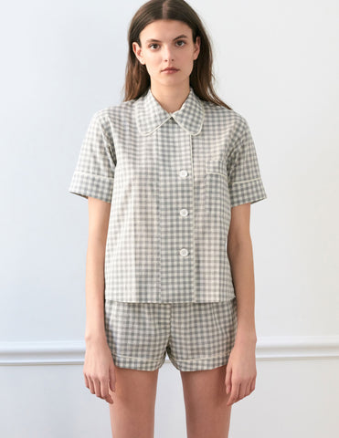 Shelby Pajama Top Fog Gingham
