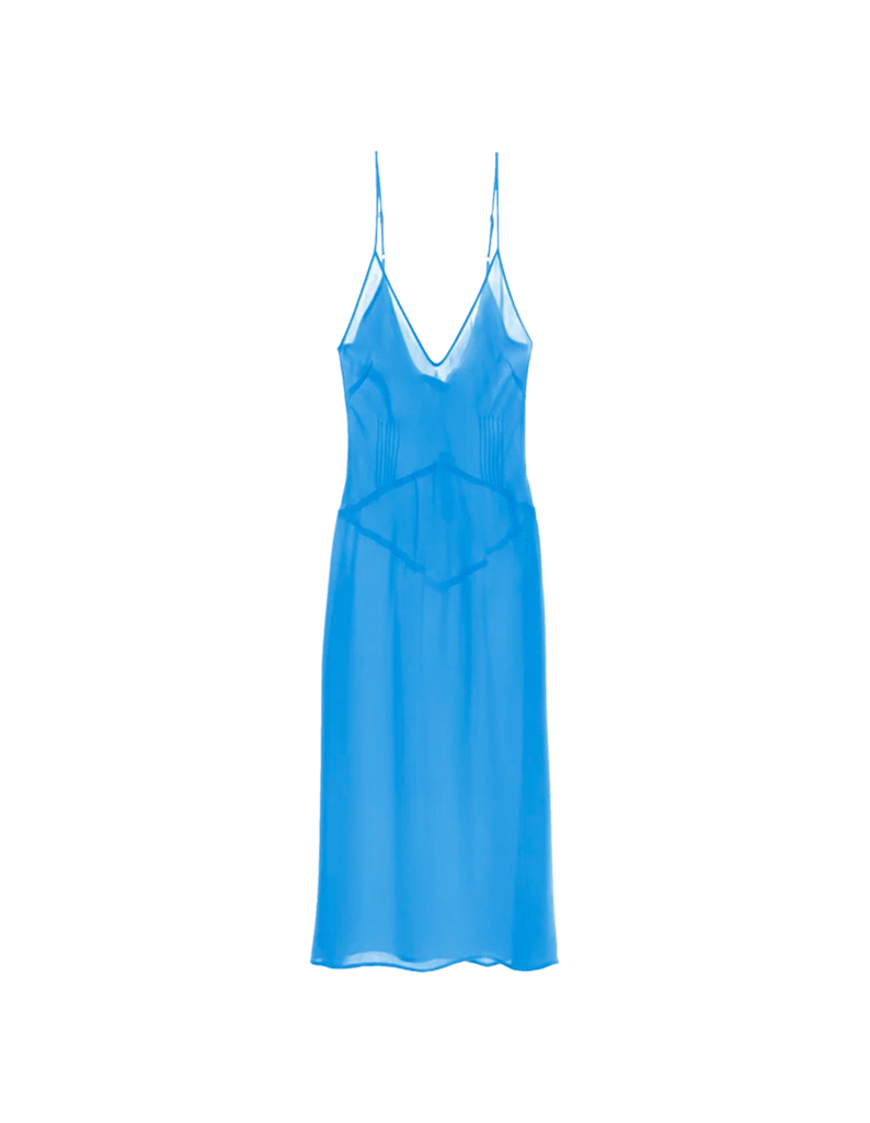 Blue silk slip dress