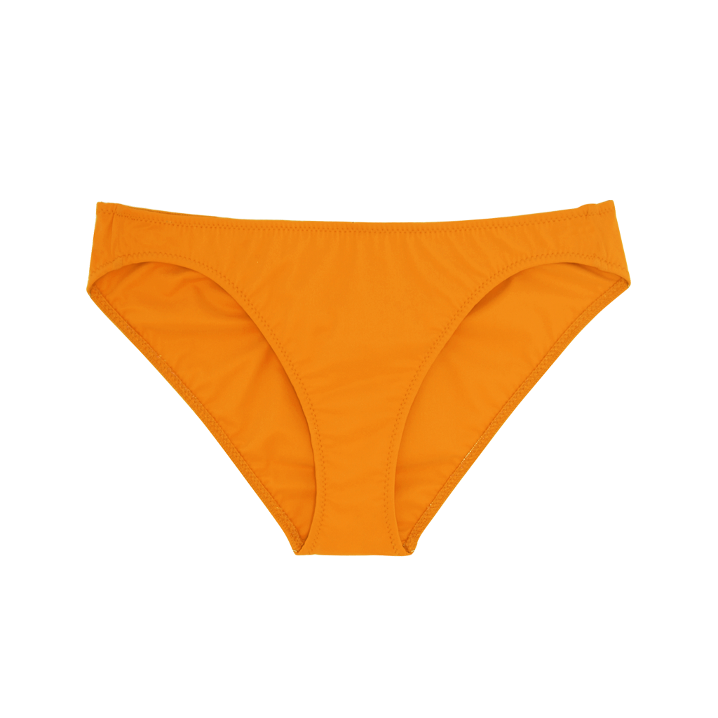 Orange low-rise swim bottoms.