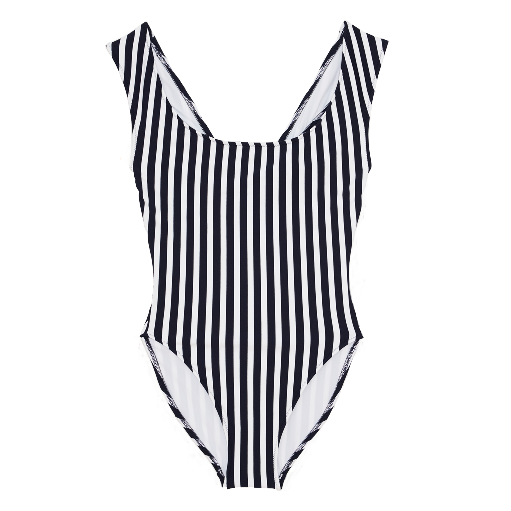 Black and white vertical stripe one piece swimsuit with wide shoulder straps that intersect at back.