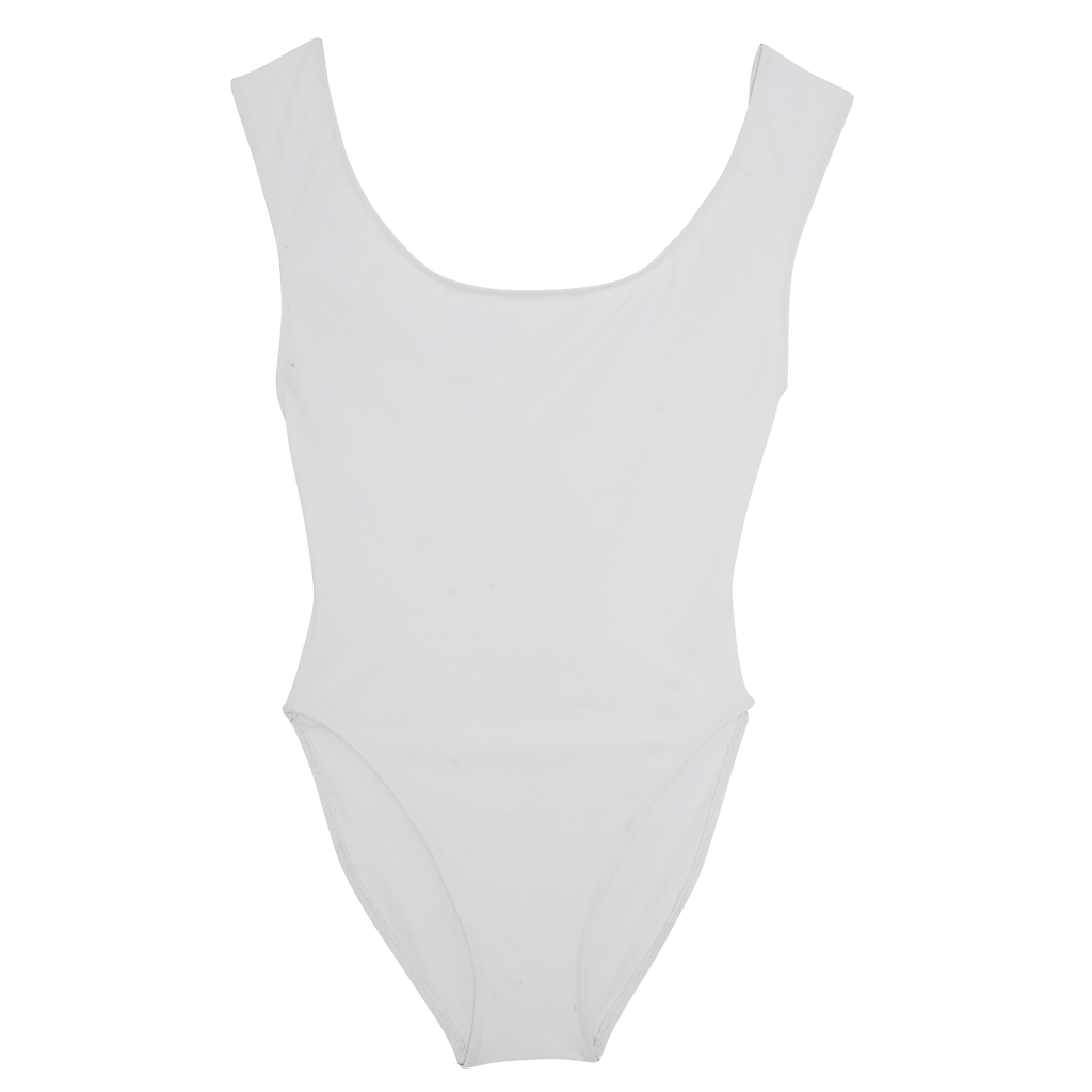 White one piece swimsuit with wide shoulder straps that intersect at back.