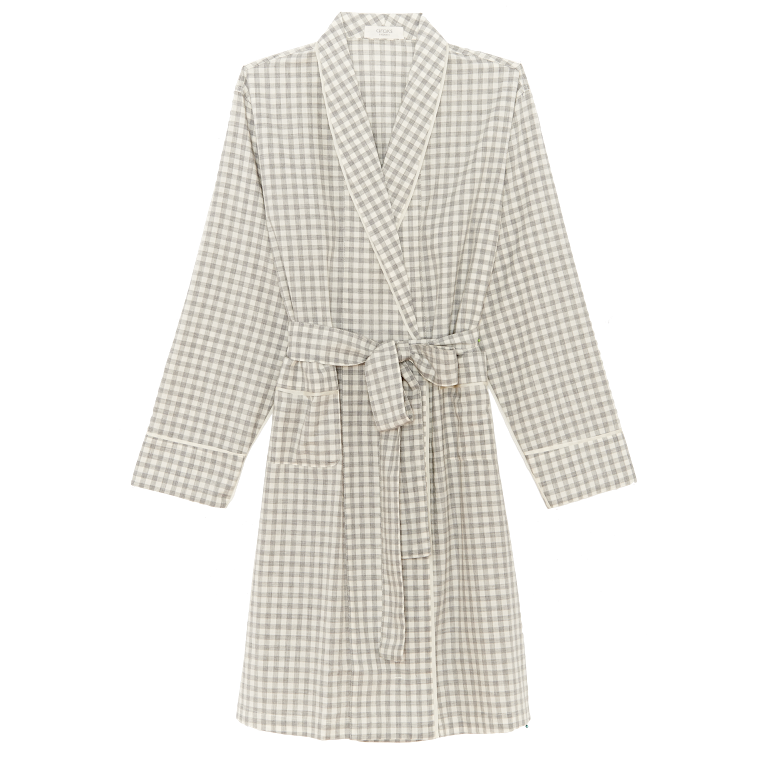 Green and white gingham silk charmeuse robe with front pockets and a tie belt.