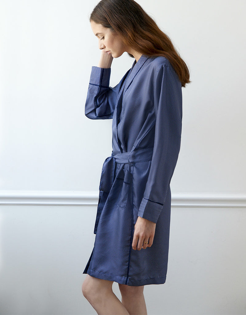 Blue based white dotted silk charmeuse robe with front pockets and a tie belt.