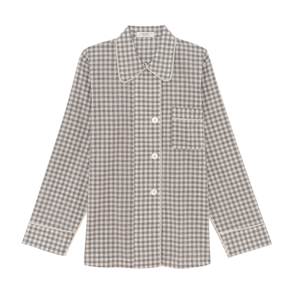 Kate Pajama Top Fog Gingham