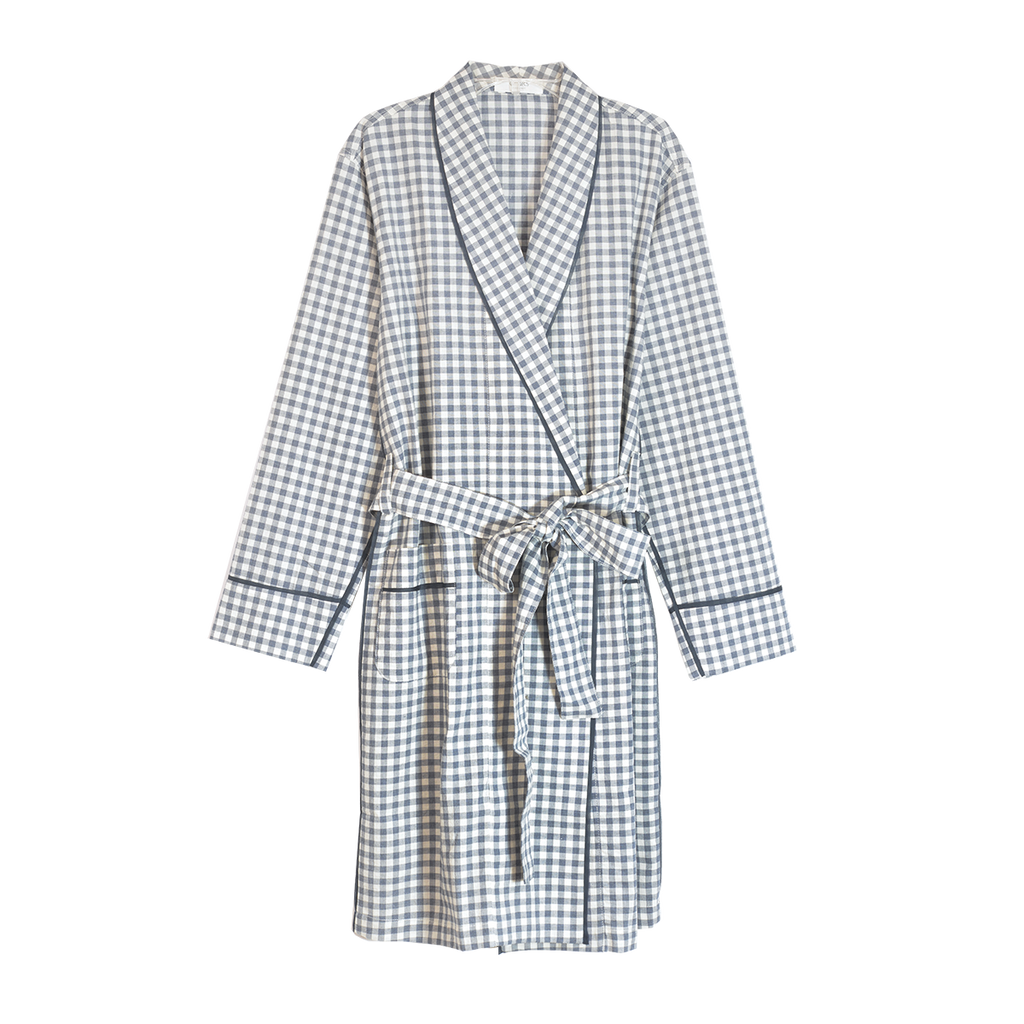 Blue and white gingham silk charmeuse robe with front pockets and a tie belt.